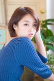 斜めバング☆センターパート小顔ハニーヘア